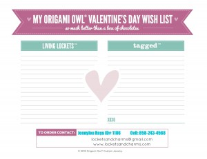 Origami Owl Valentine Wish List Jennylou locketesNcharms