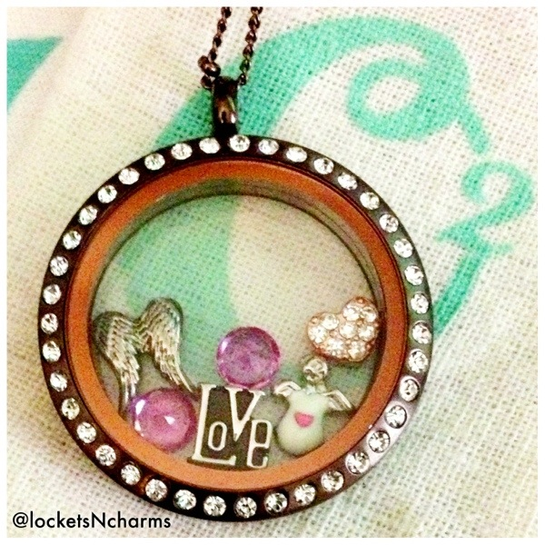 Origami Owl chocolate colored locket with crystals and love charms