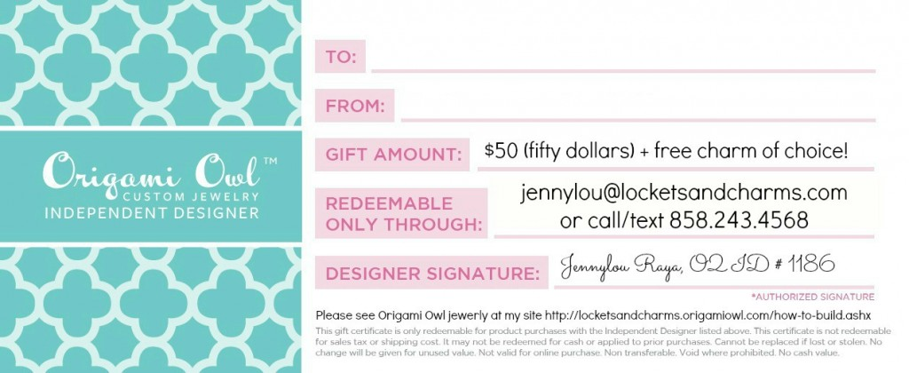Origami Owl Fifty Dollars Origami Owl Gift Certificate
