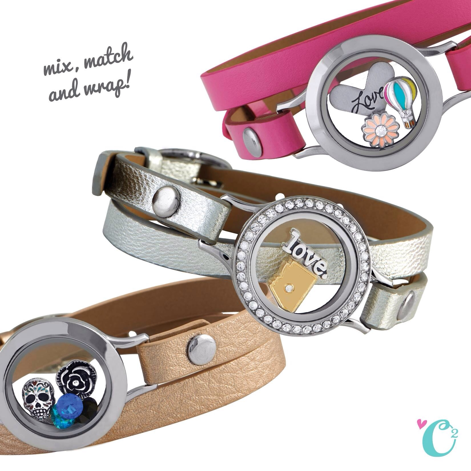 Origami Owl Leather Bracelts Silver Rosegold Pink