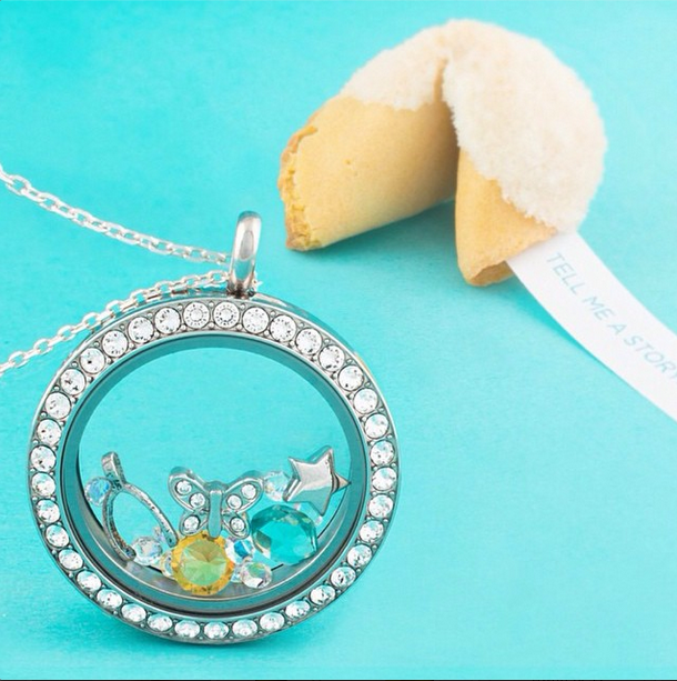 Large Silver Origami Owl Classic Locket with Crystals