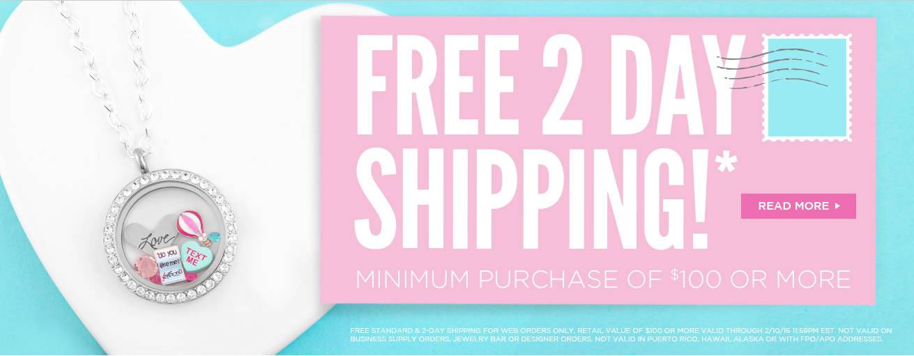 Origami Owl free shipping 2 day valentines