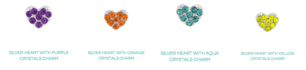Silver Heart with Crystals Charms