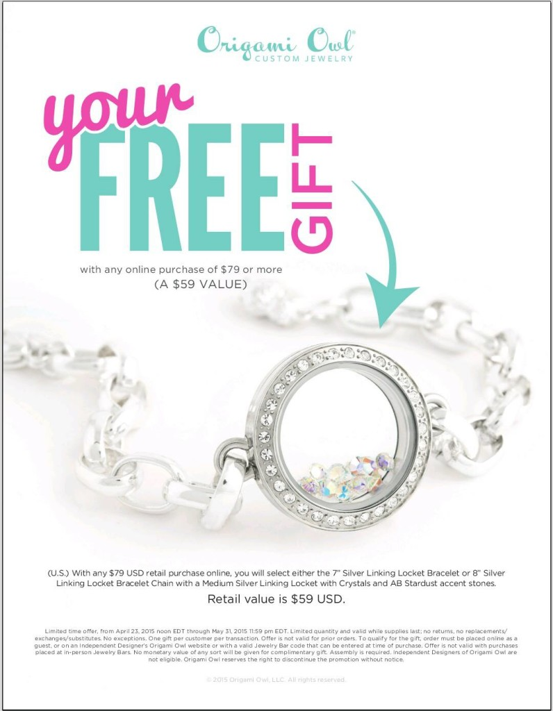 Origami Owl Link Locket Bracelet Free with Purchase