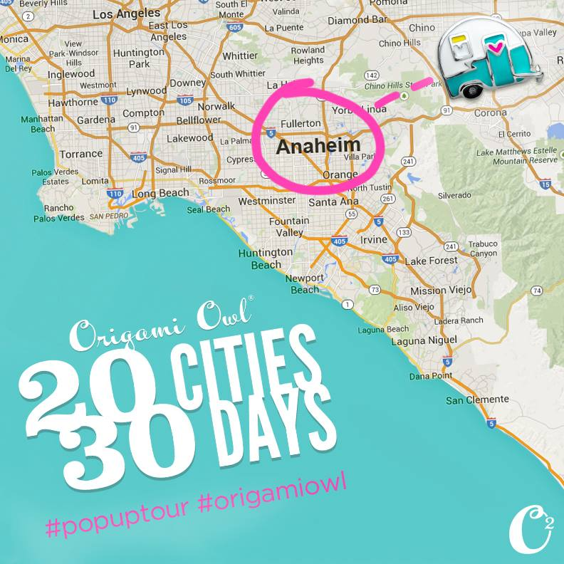 We're hitting the road and our first stop is... Anaheim! Join us THIS Saturday, April 25th, for an #origamiowl #popuptour! We'll be stopping in 20 cities over 30 days to meet with Origami Owl Designers (and their guests)! There will be appearances from The Nest + Food + Fun + Giveaways! RSVP *now* https://www.regonline.com/builder/site/Default.aspx?EventID=1709060