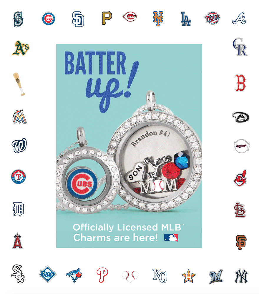 Locket # 1: Mini Locket with Crystals + Cubs charm. Locket # 2: Large Silver with Crystal, Inscriptions plate with Brandon #4 inscribed, Son charm, cheerleader, Baseball mom charm, Swarovski crystal in January, Signature Hex in Bermuda Blue, Stardust Crystals in Light Siam