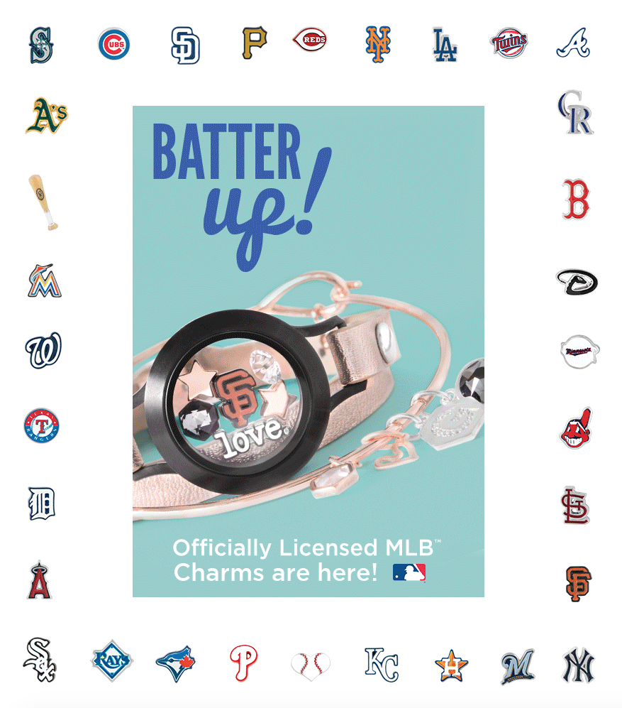 Mlb licensed charms from origami owl custom jewelry origami owl wrap bracelet base and face in black san francisco giants charm star charm in gold swarovski crystal in april signature hex in crystal silver night jeuxipadfo Gallery